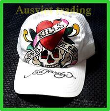 "NEW ED HARDY TRUCKER HAT CAP white ""Love kills slowly"" Mens Womens Unisex"