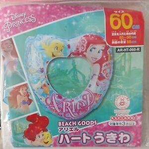 Disney Princess Ariel Inflatable Heart Swim Ring Pool Toy Float Blow Up Rare