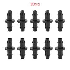 100pcs 1/4 Inch Straight Barbed Double Way Joint Drip Irrigation Connector H4