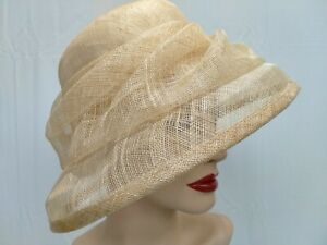 CREAM / NATURAL WOVEN STRAW WEDDING / RACES HAT