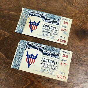 1943 Pasadena Rose Bowl College Football Ticket Stubs WWII Year- Georgia vs UCLA