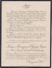 *1913 Faire-part décès Marie-Jenny DAVID-DESCHAMPS, Mme MARIGUES de CHAMP-REPUS