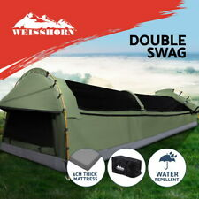 Weisshorn Double Swag Camping Swags Canvas Tent Deluxe Celadon With Mattress