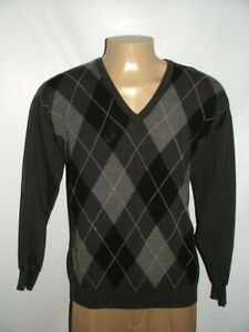 MENS PRINGLE OF SCOTLAND V-NECK SWEATER SIZE L 100%WOOL MADE IN SCOTLAND #175