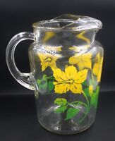 Vintage Anchor Hocking Day Lily Flower Pattern Glass Pitcher