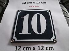 Hausnummer Emaille Nr. 10 weisse Zahl auf blauem Hintergrund 12 cm x 12 cm