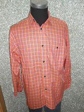 180 15a SIGNUM Hombre Camisa Informal Talla M Mandarina Naranja DE CUADROS