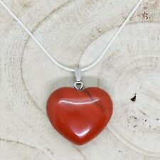 "Red Jasper Heart Necklace 28mm with 20"" Silver Chain Protection Balance Reiki"