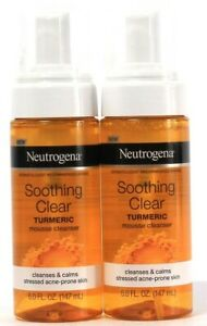 2 Ct Neutrogena 5 Oz Soothing Clear Turmeric Mousse Cleanser For Acne Prone Skin