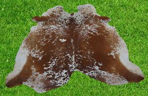 """New Cowhide Rug Hair On BROWN COW HIDE Area Rug(69"""" x 68"""")Animal Carpet 32.6 SF"""