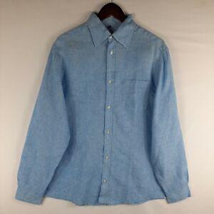 Angelo Litrico 100% Linen Blue Striped Long Sleeve Button Shirt Men's Large