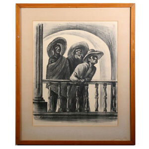 "Untitled Signed Lithograph by Marshall Goodman (Three Men by Rail) 21x25"" 1941"