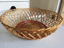 Vintage Wicker Rattan Bread Fruit Basket Retro Open Weave Woven Boho Cane
