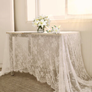 White Elegant Lace Tablecloth Rectangular Floral  Table Cover Wedding Party New