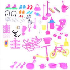 98pcs/Set Shoes phone Hanger Kitchen Furniture Bicycle For Barbie Dolls Set