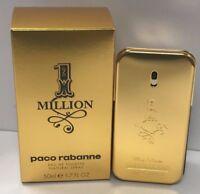 1 One Million Paco Rabanne EDT Spray For Men 1.7 oz/50 ml New Sealed