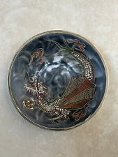 Antique Hand Made China Porcelain Small Plate Dragon Textured Paint