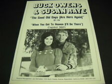 BUCK OWENS and SUSAN RAYE The Good Old Days... Original 1973 PROMO POSTER AD