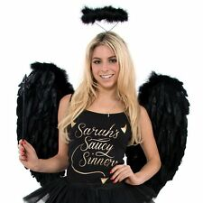 LARGE FEATHERED ANGEL WINGS BLACK - HEN PARTY FANCY DRESS - BLACK COSTUME WINGS