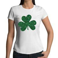 St Patricks Day Ladies Glitter SHAMROCK Printed T-Shirt Irish Paddys Ireland Tee
