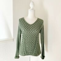 Anthropologie's Ruby Moon Cable Knit Green Pullover Sweater Size S MSRP: $89