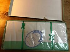 VINTAGE  SET OF NEW HEMSTITCHED SHEET & PILLOW CASES -GREEN/WHITE ORIGINAL BOX