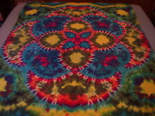 Hand-dyed Tie Dye Wallhang Tapestry - Vibrant Curved Lotus Mandala Tapestry