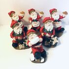 """Lot 6 Kitschy Santa Claus Cooking Kitchen Christmas 5"""" Figurines Resin"""