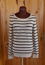 WALLIS beige black striped studs bow ANGORA longsleeve jumper sweater top S 8-10