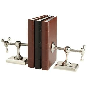 Cyan Design Hot & Cold Bookends, Nickel - 7034