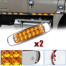 2x Amber Side Marker Light 12 LED Clearance Lamps Car Truck Trailer Beacon Lamp