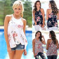 Womens Floral Tank Tops Summer Beach Loose Sleeveless Blouse T-Shirt Vest Cami