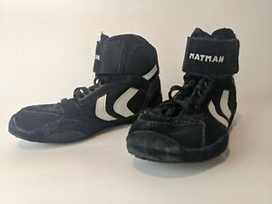Boys Wrestling Shoes Size 2 Youth Black White High Top Laces Matman