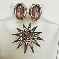 Monet Starburst Vintage Brooch Goldtone Amethyst Rhinestones matching Earrings