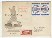 A2463) Finland 1956 Registered FDC Tete-Beche Stamps on Stamps