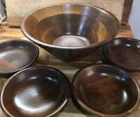 Vintage Mid-Century Walnut Wood 5 pc Salad Bowl Set by Vermillion And Giftwood
