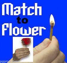 MATCH TO FLOWER Magic Trick Appearing Fire Rose Clown Feather Magician Bar Joke