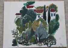 Dessin feutre Genevieve Schmied (1928-2002) maquis & cyprès provence env 1980