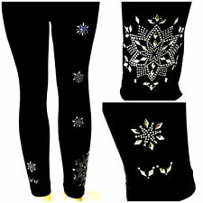 Regular or Plus Size Full-Length Leggings Embellished With Silver Snowflakes