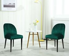 2 X Fabric Upholstered Dining Chairs Rubber Wood Legs