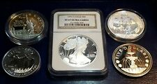>Lot of 5 - STERLING SILVER USA & WORLD SILVER COINS - More than 5 + Oz Silver<