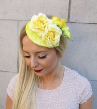 Light Yellow Camellia Flower Fascinator Teardrop Races Vintage Hair Clip 2565