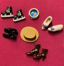 Job Lot Of Tiny Metal & Porcelain Dolls House Miniatures Boots Shoes Clogs Hat