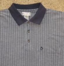 MUNSINGWEAR PENGUIN Men's Polo Shirt S/sl Purple/white Striped Cotton blend sz L