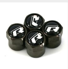 VW Carbon Black Logo R Line Car Tyre Wheel Valve Dust Caps x4 Golf Polo Tiguan
