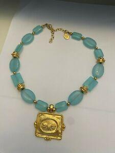 Susan Shaw Handcast Gold Bee on Aqua Quartz with Gold Necklace