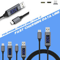 Voltage&Current Display Micro USB Fast Charger Data Cable For Samsung Xiaomi