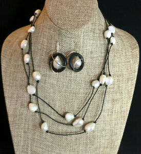 Sterling Silver Earrings FWtr Pearl Flameball Baroque +Lariat Necklace 925 #1988