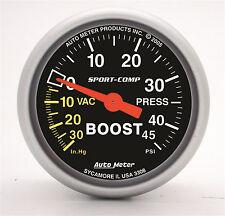 """Auto Meter 3308 Sport-Comp Mechanical 2-1/16"""" Boost / Vacuum Gauge 45 Psi (52mm)"""