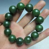 100% Natural Green Hetian Jade Hand-carved Beads Bracelet